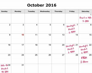 October 2016 Events