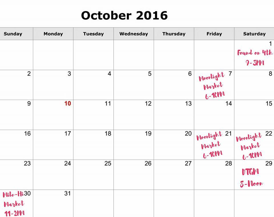 October 2016 Events